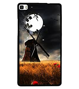 Fuson Premium Full Moon Metal Printed with Hard Plastic Back Case Cover for Huawei P8