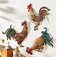French Country Rooster Wall Art Trio
