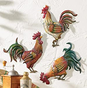 French country rooster wall art trio home for Home decorations amazon