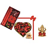 Skylofts 9pc Heart Shaped Chocolate Box With A Cute Teddy & A Beautiful Candle Diya Set , Ganeshji Idol Diwali...