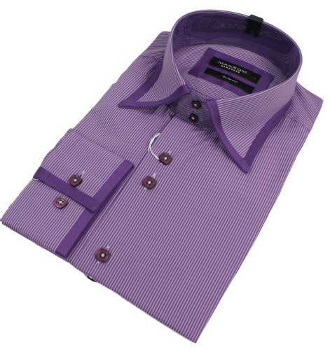 Mens Stripe Italian Design Purple Shirt Slim Fit Smart or Casual 100% Cotton