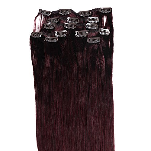 Grammy 22 Inch 7pcs Remy Clips in Human Hair Extensions 70g with Clips for Highlight (22 Inch, #99j Red Wine Burgundy) (Burgundy Clip In Hair Extensions compare prices)