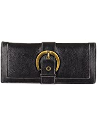 Genuine Leather Women's Classic Wallet (clutch Style) With 11 Compartments (black) - B01DBW9RA2