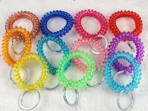 YAKA Wholesale Lot 20pcs Mixed Stretchable Spiral Wrist Coil Key Chains Hot