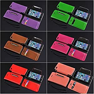 Luxury Fashion PU Leather Hardware Wallet Stand Case Cover for iPhone 5C with Card Holder - 10 Color