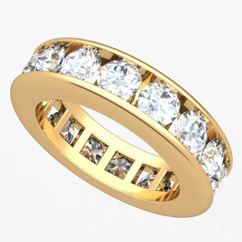 18k Yellow Gold Channel set Diamond Eternity Wedding Band Ring (G-H/VS, 4 ct.)