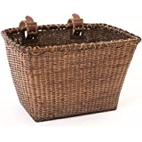 "Retrospec Bicycles Cane Woven Rectangular ""Toto"" Basket with Authentic Leather Straps and Brass Buckles"