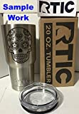 (Inverted Heart) Mexican Sugar Skull Day of The Dead Calavera Inspired - Laser Engraved RTIC 20oz Stainless Steel Tumbler / Rambler