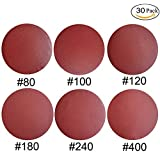 30 PCS 8-Inch NO-Hole PSA Aluminum Oxide Sanding Disc, Self Stick(5 Each of 80 100 120 180 240 400)