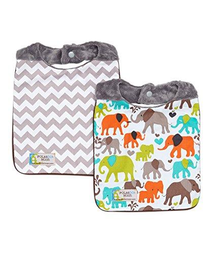 Baby Boy Bib Set of 2 - Elephants & Gray Chevron on Minky