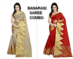Shoppers Trend Beige and Red Combo Saree