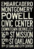 (13x19) San Francisco Oakland BART Stations Vintage Subway RetroMetro Travel Poster
