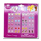 Licensed Princess 24 Pair Sticker Earrings on Blister Card