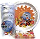 Disney Mickey Mouse Party Pack - Plates, Cups, & Coordinating Napkins