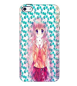 PrintDhaba Cute Girl D-3981 Back Case Cover for APPLE IPHONE 5 (Multi-Coloured)
