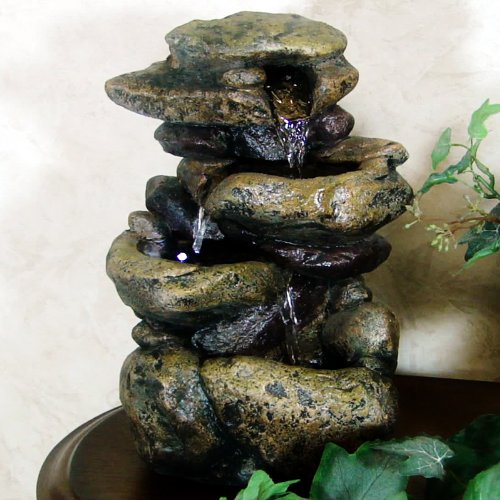 3 Tier Rock Fountain with LED Light (Multicolored) (11