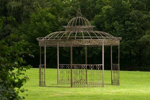 CLP runder LUXUS Pavillon ROMANTIK, aus stabilen Eisen Vierkantprofilen, Ø 3,45 Meter, Höhe 350 cm Bronze günstig online kaufen