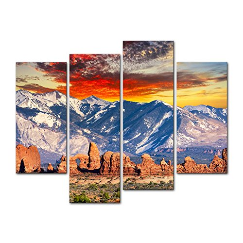 4 Pieces Modern Canvas Painting Wall Art The Picture For Home Decoration Red Hoodoos And Cool Rocky Mountains In Arches National Park Utah Landscape Mountain Print On Canvas Giclee Artwork For Wall Decor (Cool Artwork compare prices)