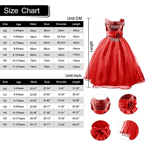 Acecharming Girls Flower Party Wedding Gown Bridesmaid Tulle Ruffle Dress