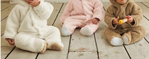 もこもこ! ラブリー ベビー カバーオール アニマル ロンパース 新生児 ~ 6ヶ月 70cm 赤ちゃん 動物 着ぐるみ くま うさぎ ひつじ