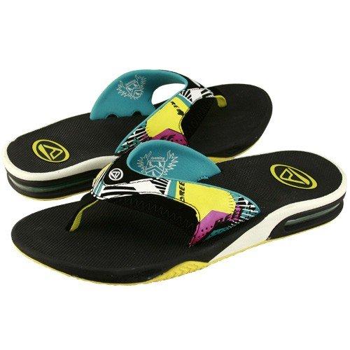 Amazon.com: Reef Sandals : Reef Fanning Black-Turquoise Raygun Sandals