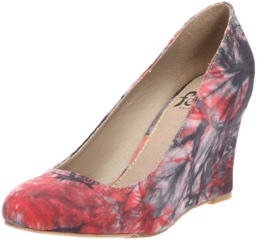 Feud Britannia Women's Wasp Red Swirl Wedges Heels 202456026 7 UK