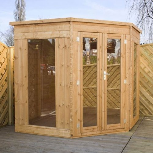 7ft x 7ft Premier Corner Shiplap Apex Wooden Garden Summerhouse - Brand New 7x7 Tongue and Groove Wood Summerhouses