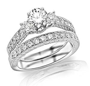 2.23 Carat Round Cut Three Stone Vintage With Milgrain & Filigree Bridal Set with Wedding Band & Diamond Engagement Ring (I-J Color, SI1 Clarity)