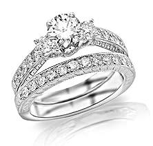 buy 1.53 Carat Three Stone Vintage With Milgrain & Filigree Bridal Set With Wedding Band & Diamond Engagement Ring 14K White Gold With A 0.5 Carat H-I Si2-I1 Round Brilliant Cut/Shape Center