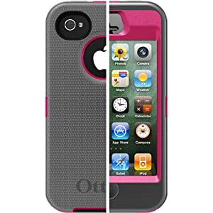 OtterBox Defender Series Hybrid Case & Holster for iPhone 4 & 4S  - Retail Packaging - Peony Pink/Gunmetal Grey (Discontinued by Manufacturer)