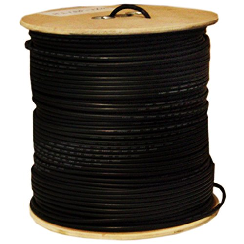 C&E 1000 feet CAT5E 24AWG 4PR Direct Burial Outdoor Shielded Ethernet Cable Black