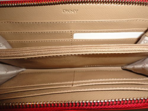 DKNYDKNY Women's Zip Around Ostrich Leather Wallet Red