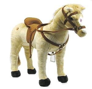 Happy People 58410 - Pferd mit 3-fach Sound, beige, stehend, Tragkraft ca. 100 kg
