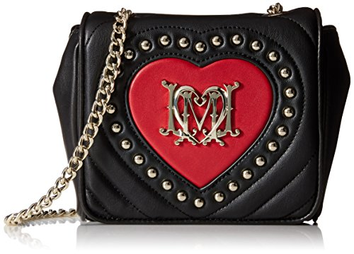 Love Moschino Quilted Heart Flap Shoulder Bag, Black/Red, One Size