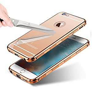 "Apple IPhone 7, Iphone 6s, Iphone 6 [4.7''] (Pack Of 2 Quantity) KARP Selling First Time In India New ""Non Slippery & Anti Scratch"" Ultra-Thin Luxury Aluminum Metal Bumper Detachable + Mirror Tempered Glass Bumper Back Case Cover - Rose Gold Color"