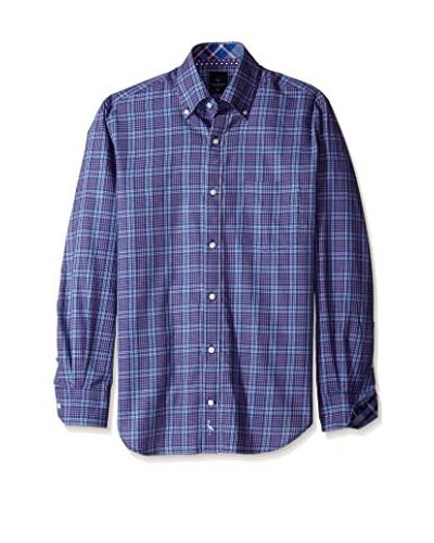 Tailorbyrd Men's Plaid Button Down Sport Shirt with Contrast Cuff
