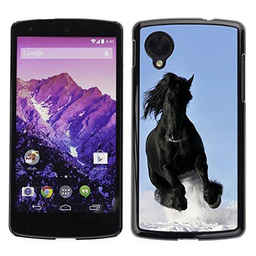 GOODTHINGS Schwarz Handy Schutz Hülle Bild Case Cover Hart Schale Etui für LG Google Nexus 5 ( majestatischen Mustang-Pferd )