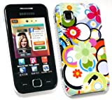 EMARTBUY SAMSUNG S5250 WAVE 525 CIRCLES AND FLOWERS SUPER SLIM CLIP ON PROTECTION CASE/COVER/SKIN