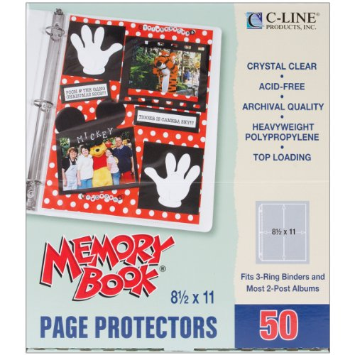 c-line-memory-book-11-x-85-inch-scrapbook-page-protectors-heavyweight-poly-top-load-50-pages-per-box