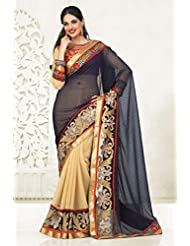 Gorgeous Black and Cream Half and Half Designer Saree Made Of Georgette Fabric