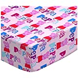 SheetWorld Fitted Square Playard Sheet 37.5 X 37.5 (Fits Joovy) - Peppa Pig Pink - Made In USA
