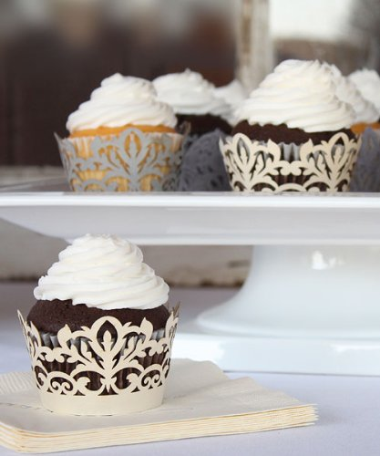 Classic-Damask-Filigree-Paper-Cupcake-Wrappers-Silver-Grey-Shimmer