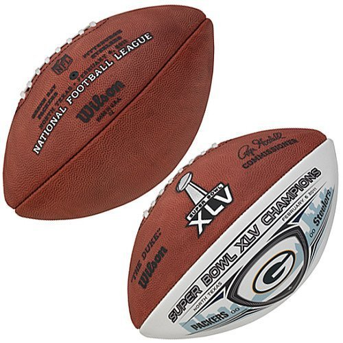 Green Bay Packers Super Bowl XLV Champions Game Ball With White Panel