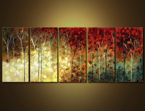Ode-Rin Hand Painted Oil Paintings Gift Red Flowers 5 Panels Wood Inside Framed Hanging Wall Decoration