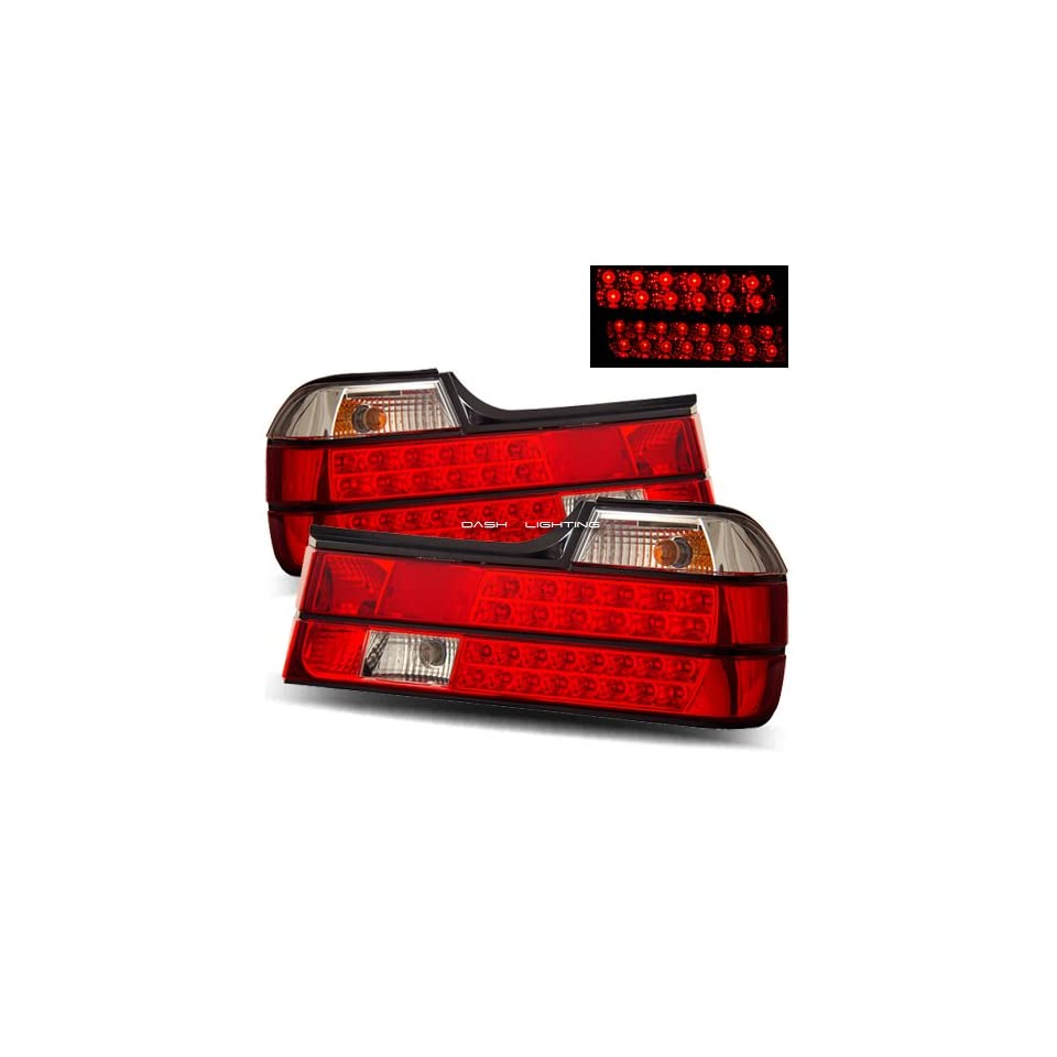 88 94 BMW E32 7 Series LED Tail Lights   Red Clear