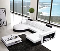 Hot Sale T57C White & Black Top Grain Italian Leather Living Room Sectional Sofa With Adjustable Headrests & Side Storage