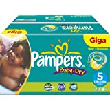 Pampers Baby-Dry Size 5 (24-55 lbs/11-25 kg) Nappies - Giga Pack of 124 Nappies