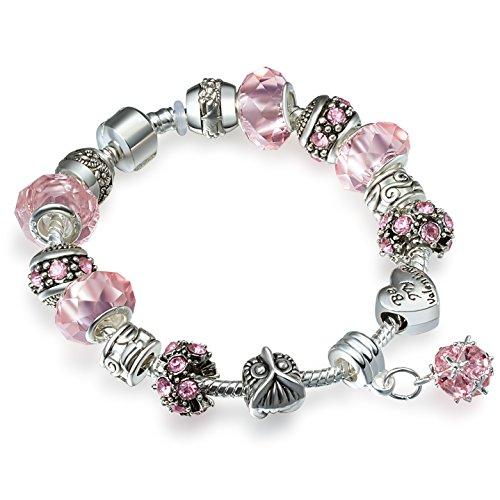 A-TE-Charm-Pulsera-Mujer-Rosa-Cristales-Plata-Bho-con-Letras-Regalos-Amor-JW-B12
