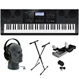 Casio WK7600 76-Key Premium Keyboard Pack with Audio Technica ATH-T200 Power Supply Stand and Dust Cover