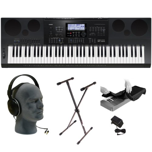 Casio Wk7600 76-Key Premium Keyboard Pack With Audio Technica Ath-T200, Power Supply, Stand And Dust Cover